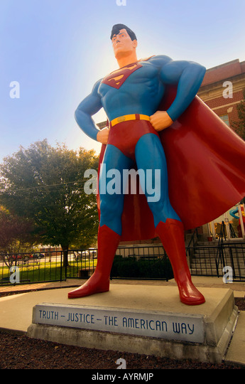 The 15 foot statue of Superman in Superman Square in Metropolis Illinois The Hometown of Superman - Stock Image