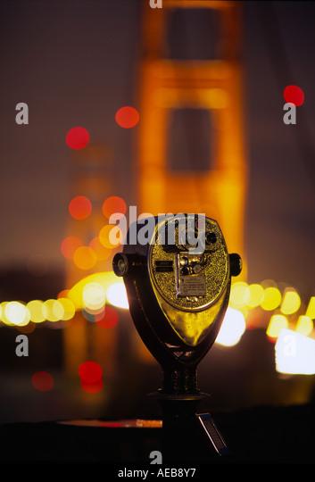 Golden Gate Bridge & Coin Operated Binoculars, San Francisco California USA - Stock Image