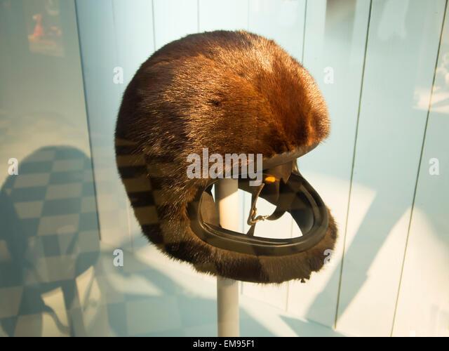 London, UK. 17th April, 2015. Hermes Mink crash helmet Credit:  Martyn Goddard/Alamy Live News - Stock Image