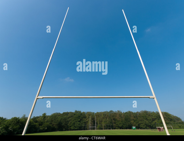 rugby field with rugby post in front - Stock Image