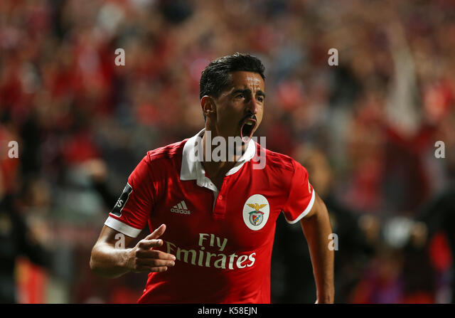 Benfica«s defender Andre Almeida from Portugal celebrating after scoring a goal during the Premier League 2017/18 - Stock Image
