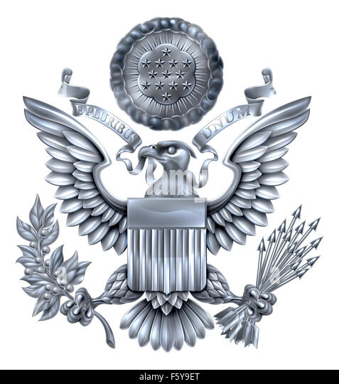 Silver Great Seal of the United States American eagle design with bald eagle holding an olive branch and arrows - Stock Image