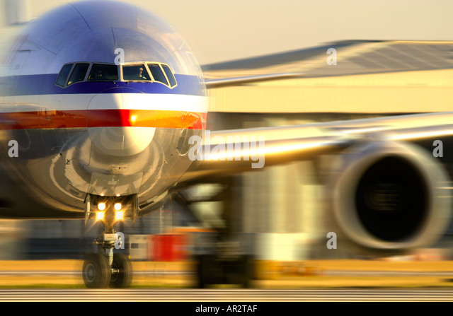 Airplane concept shot with blured background - Stock Image