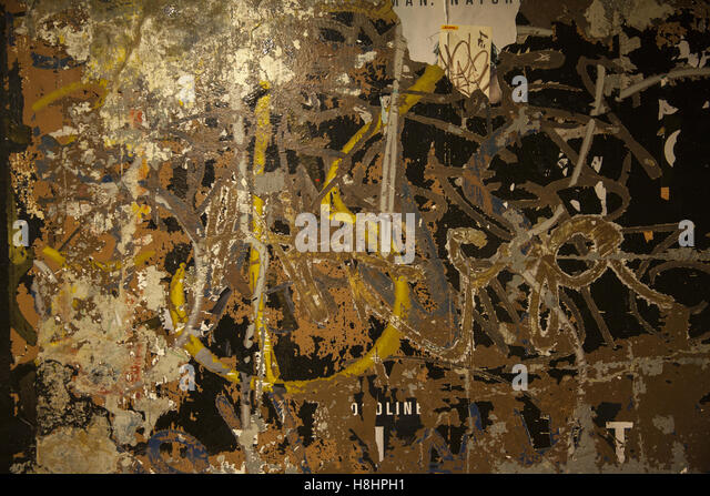 Small section of a wall in a Brooklyn subway station looks like an abstract painting. - Stock Image