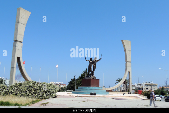 KYRENIA, North Cyprus. Monument to youth at a sports ground. Photo Tony Gale - Stock Image