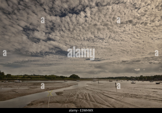 Woodbridge, Suffolk, River, Debden, tide out, mud - Stock Image