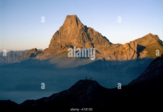 Pic du Midi d'Ossau at sunset, Pyrenees, France - Stock Image