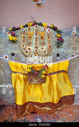 Holy shrine near Sri Meenakshi Amman Temple Hindu ( dedicated to Parvati - Meenakshi-  Shiva- Sundareswarar )  Madurai - Stock Image