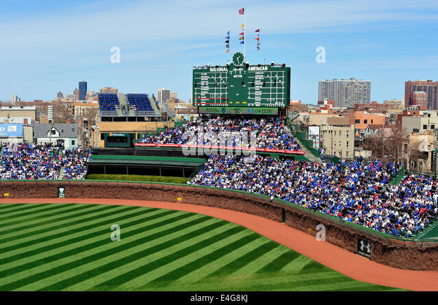 USA Illinois Chicago Wrigley Field Stadium on April 23, 2014 100 year anniversary - Stock Image