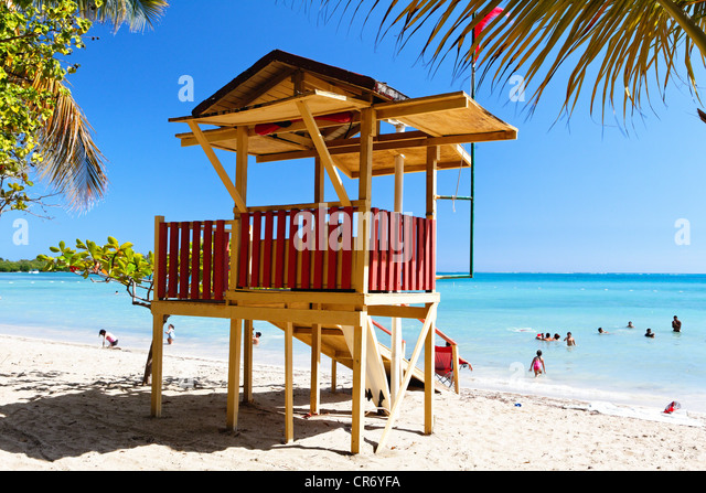 Lifeguard Hut on the Beach, Cana Gorda, Guanica, Puerto Rico - Stock Image