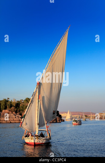 Feluccas on the Nile, Aswan, Egypt - Stock Image