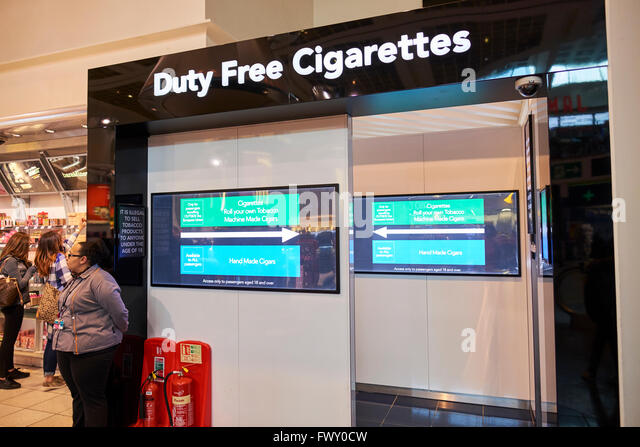 Screened Off Entrance To The Duty Free Cigarettes Store Departure Lounge North Terminal Gatwick Airport West Sussex - Stock Image