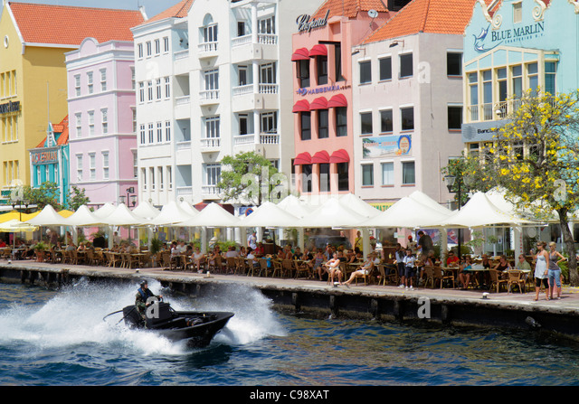 Curaçao Netherlands Antilles Dutch Willemstad Punda Handelskade St. Sint Anne Bay waterfront UNESCO World Heritage - Stock Image