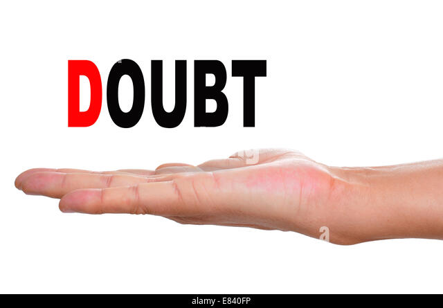 the hand of a man holding the word doubt on a white background - Stock Image