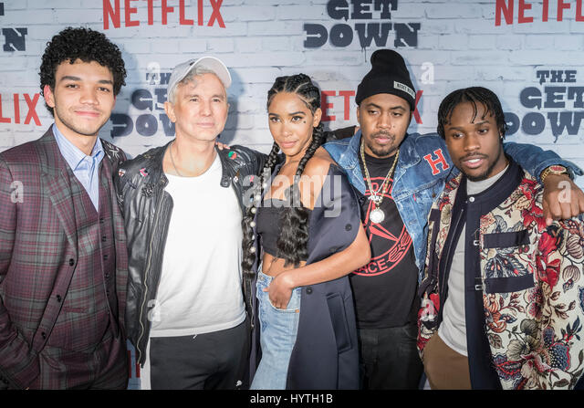 New York, United States. 05th Apr, 2017. (L-R) Justice Smith, Baz Luhrmann, Herizen Guardiola, Nas, Shameik Moore - Stock-Bilder