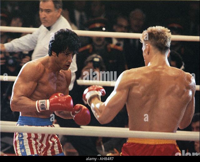 ROCKY IV 1985 MGM UA film with Sylvester Stallone and Dolph Lundgren - Stock Image