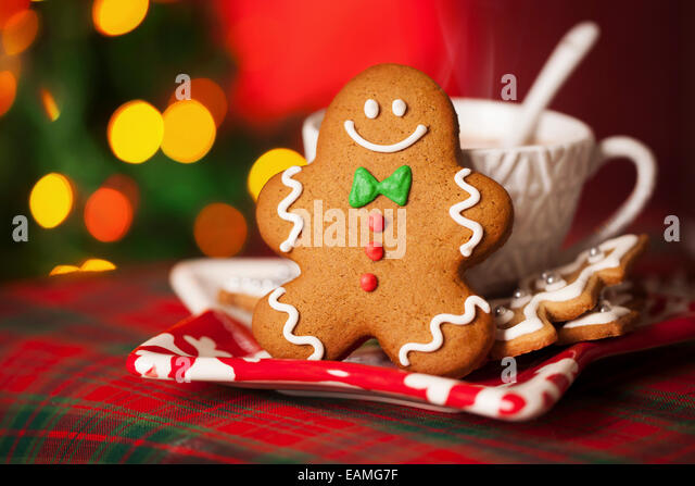 Gingerbread man and hot drink - Stock Image