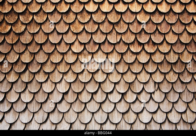 Wooden roof tiles - Stock Image