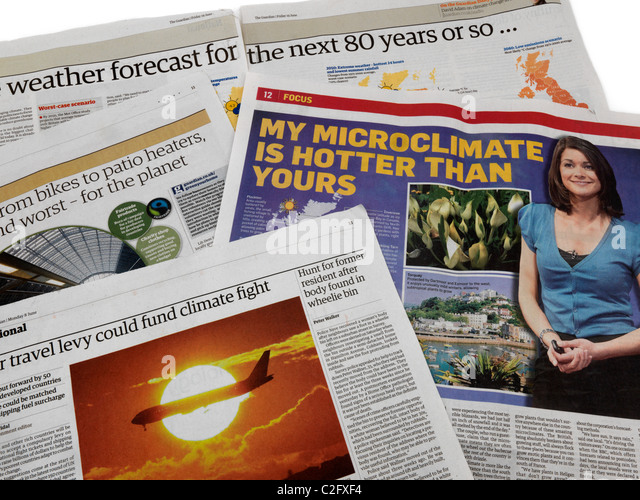 A Selection Of Newspapers Headlines On The Subject Of Global Warming - Stock Image