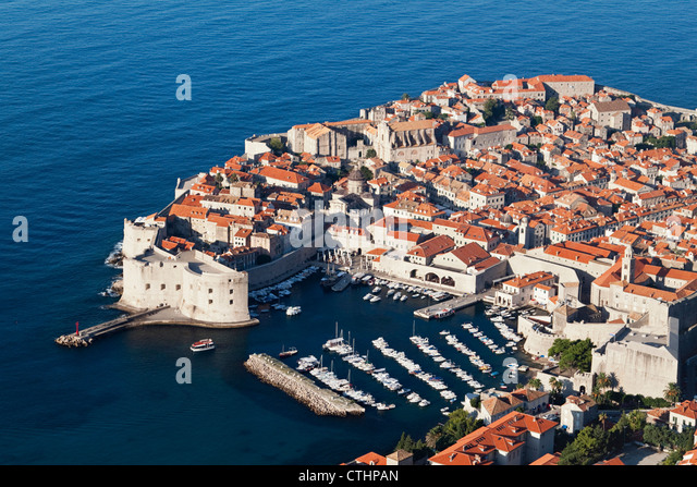 Walled Old City of Dubrovnik, Harbour, birds eye view, Panorama, Croatia - Stock Image