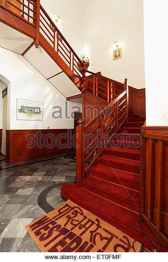 Stairs in heritage bungalow of general manager western railway ; Bombarci ; Bombay Mumbai ; Maharashtra ; India - Stock Image