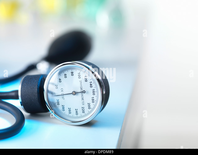 Blood pressure gauge in Doctors surgery - Stock Image