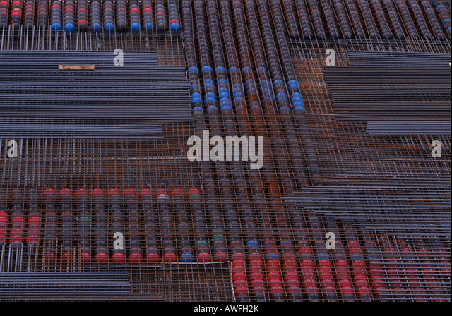 Layer if iron, surface prepared for laying concrete - Stock Image