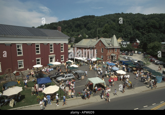 Vermont Montpelier Farmers Market Washington County Courthouse parking lot Hubbard Hill - Stock Image