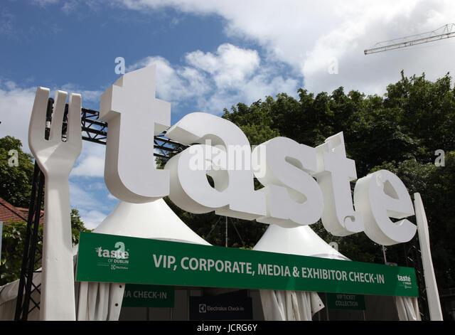 Giant logo of Taste of Dublin food festival - Stock Image