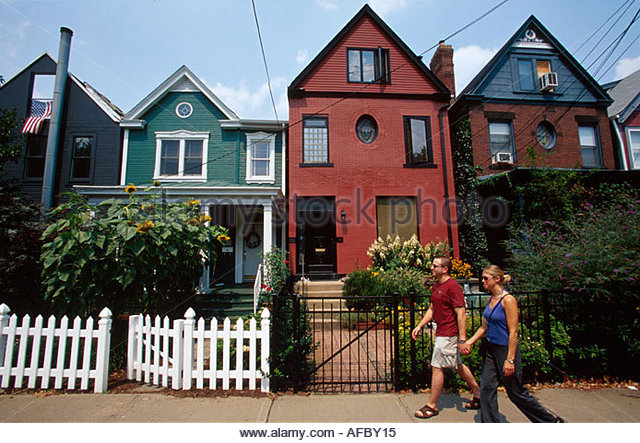 Pennsylvania Pittsburgh Shadyside Kentucky Avenue homes residents - Stock Image