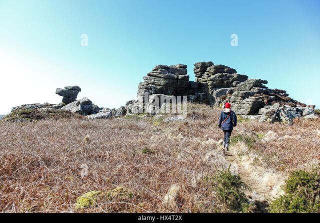 Carn Kenidjack is a hill covered in megaliths at Tregeseal, Cornwall. England, UK - Stock Image