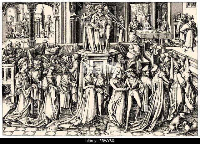 Baronial ball in the 15th century, Lower Germany, Europe, Ball an einem niederdeutschen Fürstenhof im 15. Jahrhundert, - Stock Image
