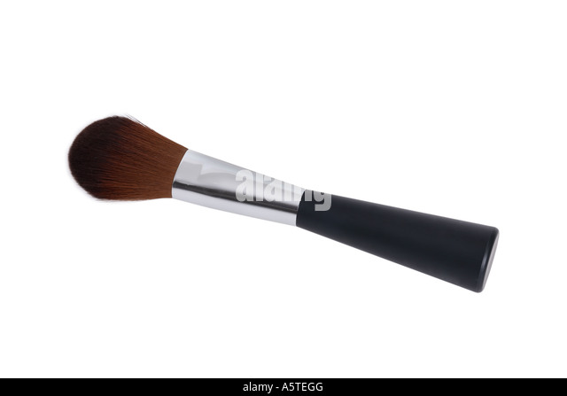 Makeup Brush cut out on white background - Stock Image