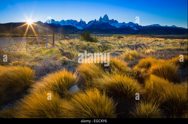 Mount Fitz Roy is a mountain located near El Chaltén village in Patagonia, on the border between Argentina - Stock Image