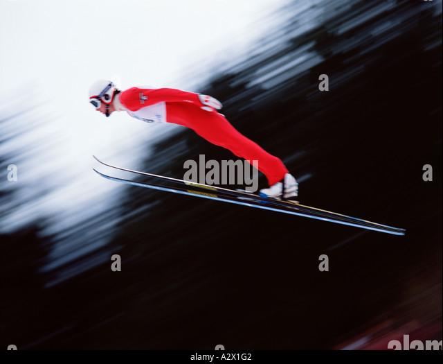 Ski jumping man. Motion impression. - Stock Image