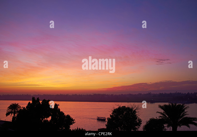 River Nile at Aswan, Egypt, North Africa, Africa - Stock Image