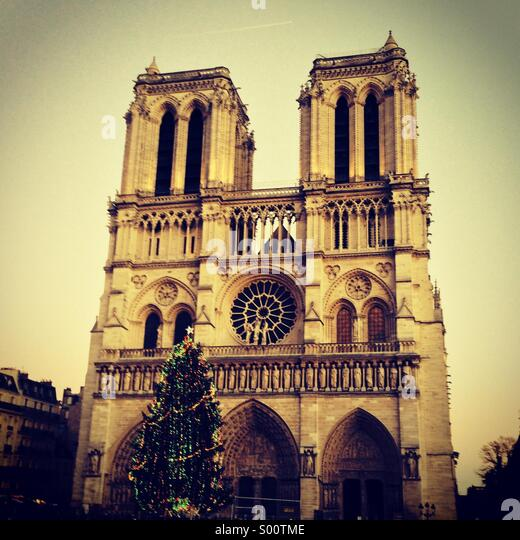 Christmas at Notre Dame de Paris - Stock Image