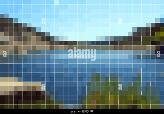 landscape background with solid colored rectangles in mosaic tile effect - Stock-Bilder