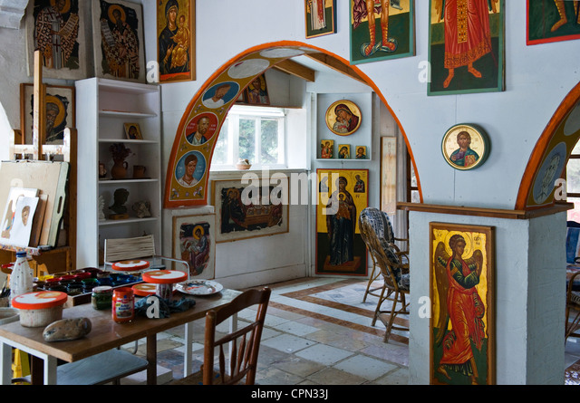 Europe Greece, Dodecanese, Kos, the workshop of Mr.Katapodis icon painter - Stock Image