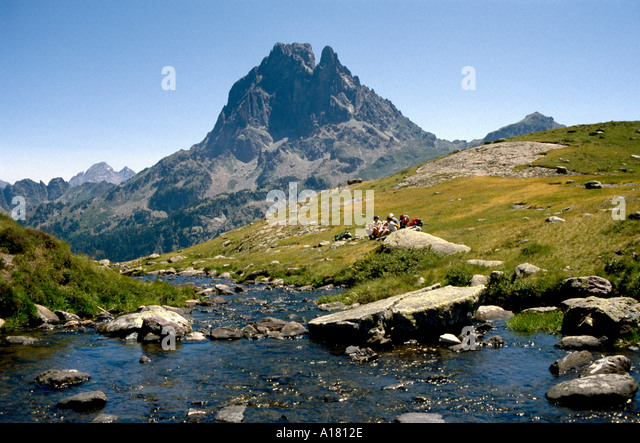 Pic du Midi d'Ossau, from near Lac Roumassot, Pyrenees, France - Stock Image