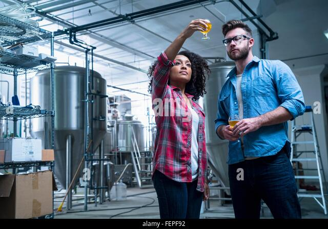 Colleagues in brewery holding up glass of beer, checking quality - Stock Image
