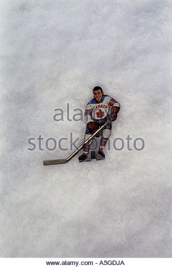 Comic drawing of a Canadian hockey player - Stock Image