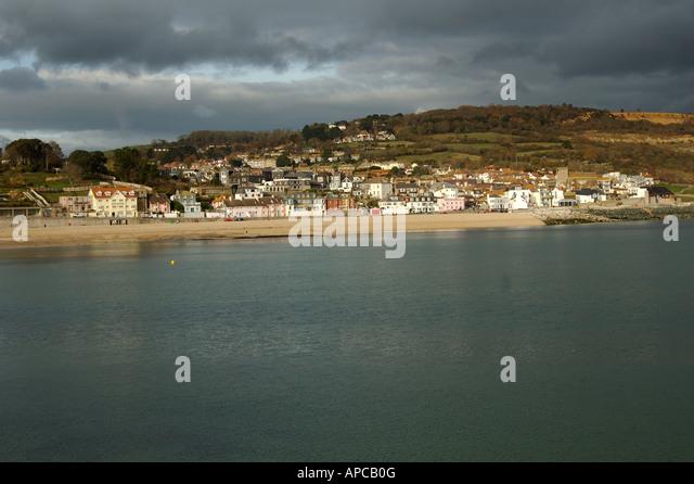 Lyme Regis Dorset England Jurassic coast the Cob - Stock Image