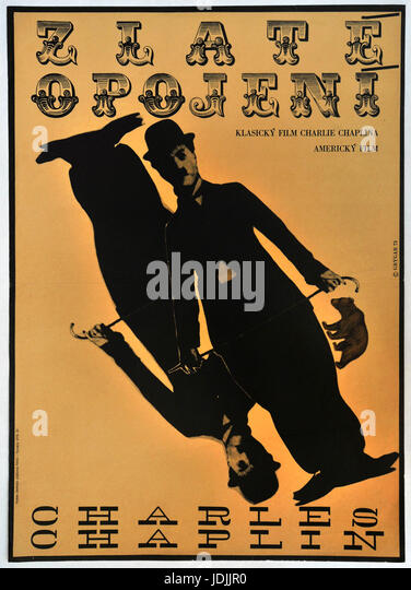 The Gold Rush. 1925. Charlie Chaplin. Original Czechoslovak movie poster, 1973. - Stock Image