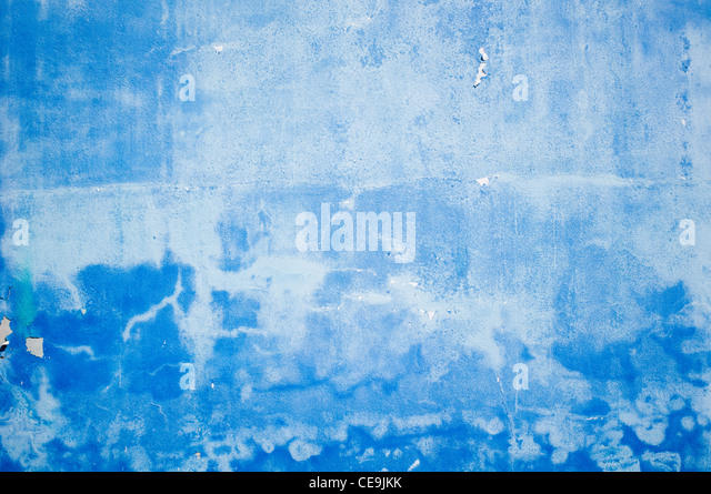 grunge blue wall, with peeling paint. - Stock-Bilder