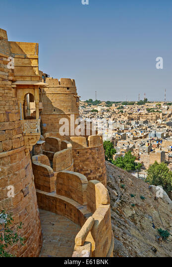 city wall of Jaisalmer, Rajasthan, India, Asia - Stock-Bilder