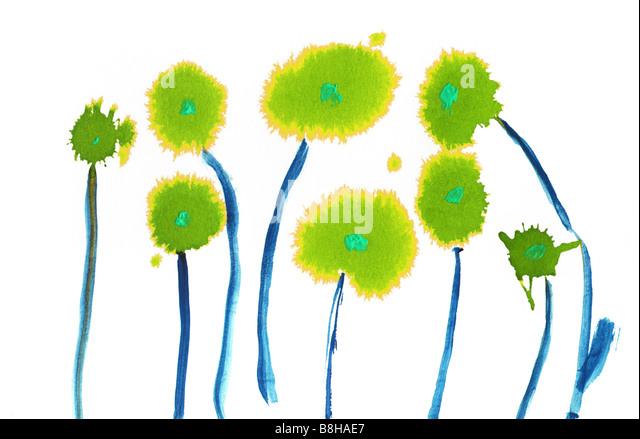 Watercolour flower illustration. - Stock Image