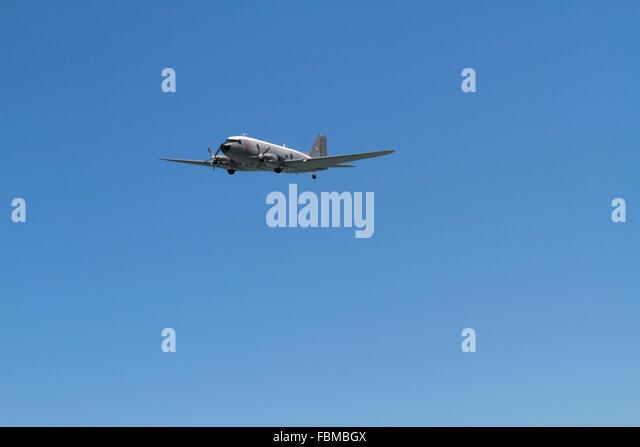 A  Douglas C-47 Skytrain or Dakota in flight in Cape Town, South Africa. - Stock Image