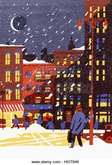 Snowy city street in winter at night - Stock-Bilder