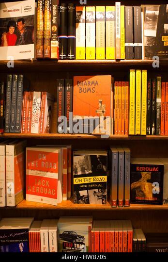 United States, California, San Francisco, North Beach, City Lights Bookstore, bookshelves with Beat Generation literature - Stock Image